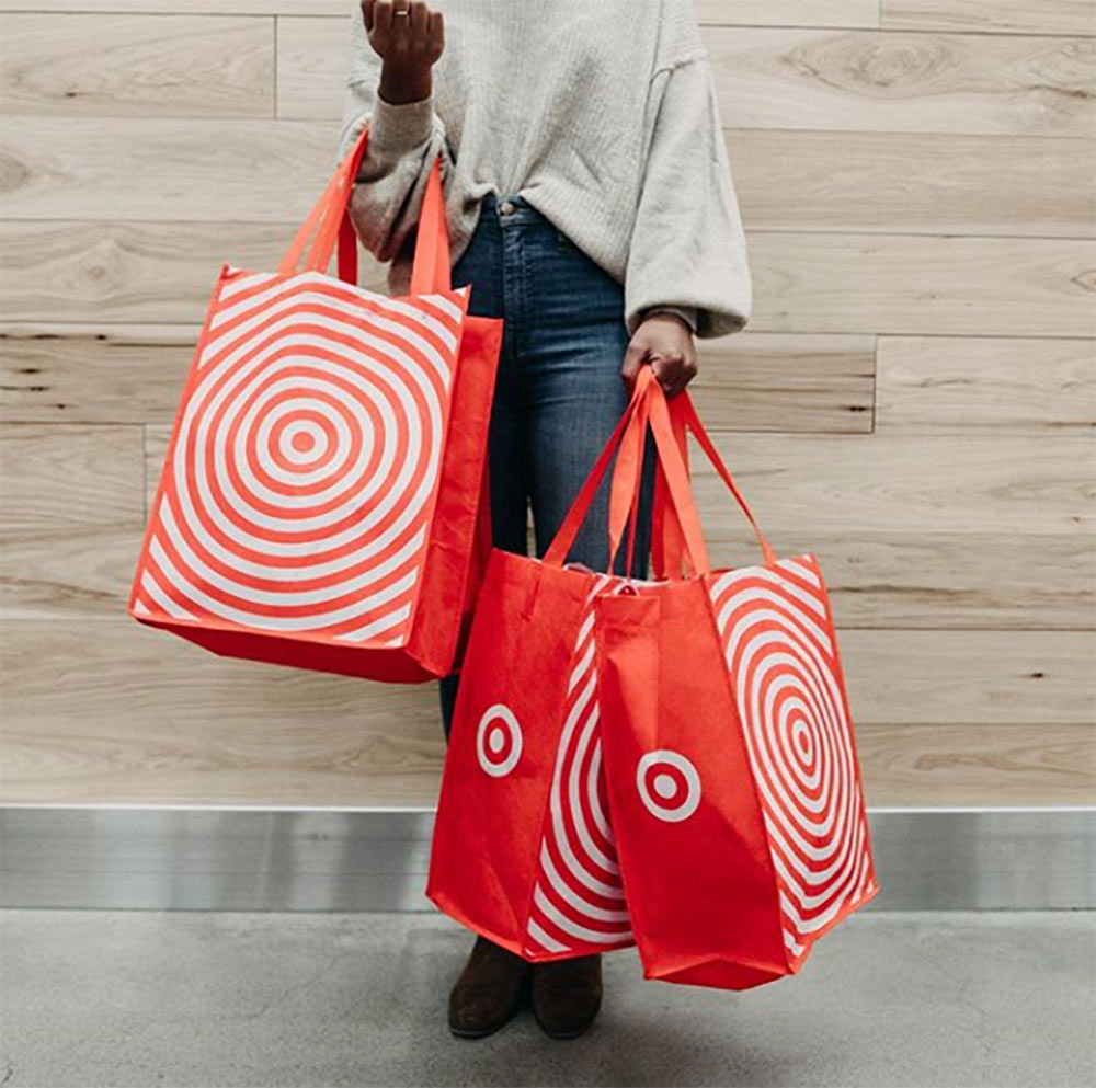 shopper with target bags
